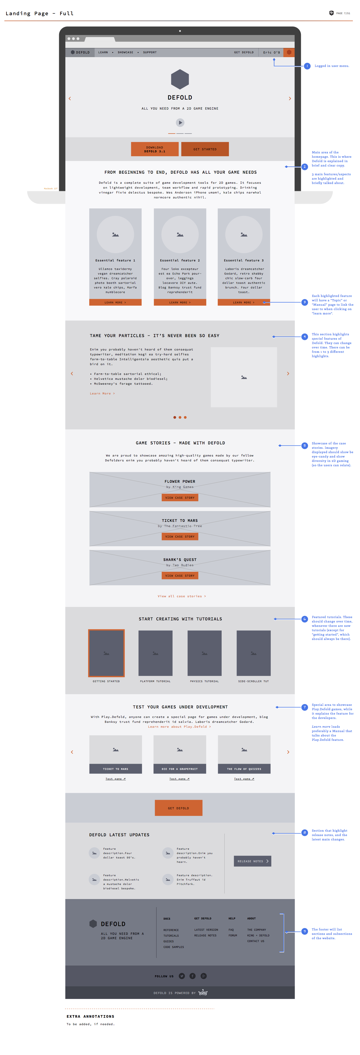 Wireframes I created for the landing page of Defold.com.