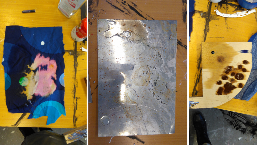 Initial experimentations with material. In the beginning we also tried to modify the properties of textile and wood.