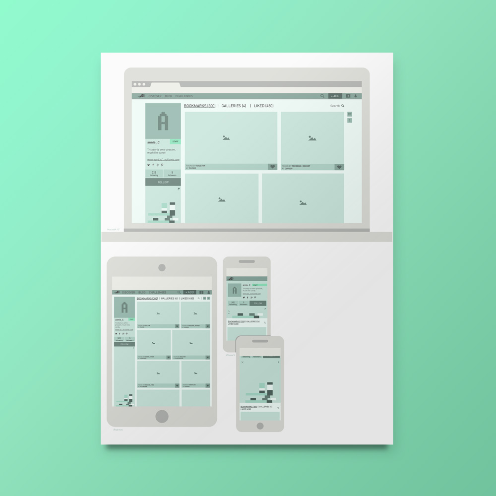 Profile page wireframes